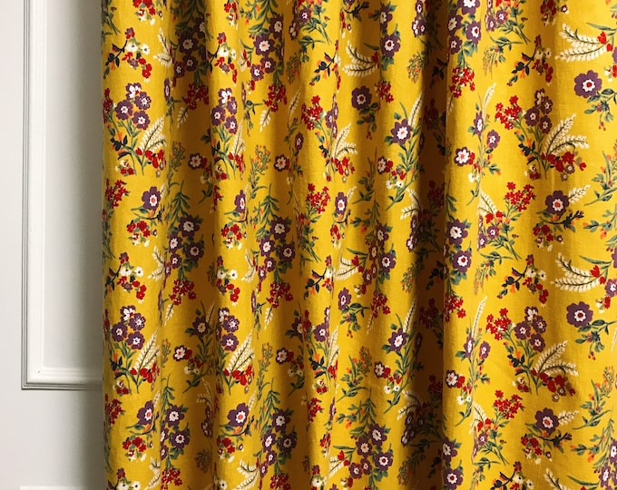 Vintage Wildflower Pattern Mustard Linen Curtain