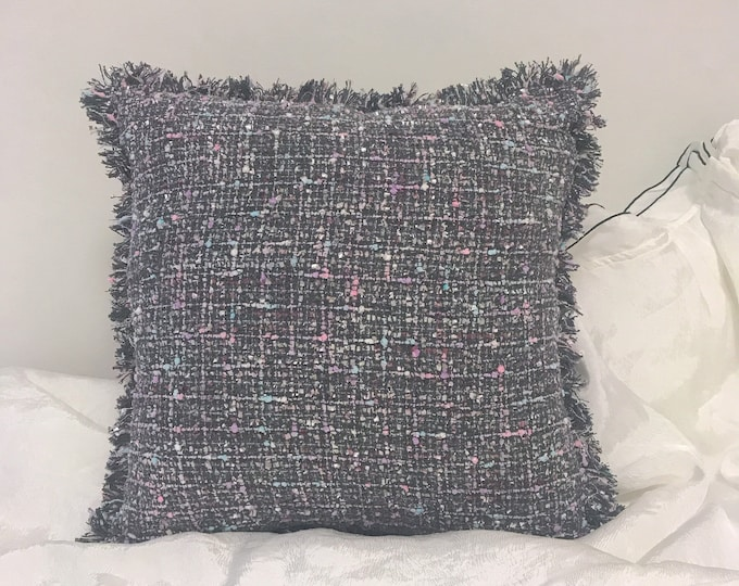Grey Tweed Decorative Square Cushion Cover 18 inches
