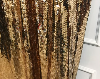 """Gold Sequins Drops Embellished Metallic Drapery Lined Curtains 1Pair. Beads Curtain. Spangle Curtain Panel. 64"""" 84"""" 90"""" 96"""" Long by 49"""" Wide"""