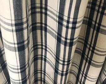 Spruce Blue Check Patterned Ivory Curtain