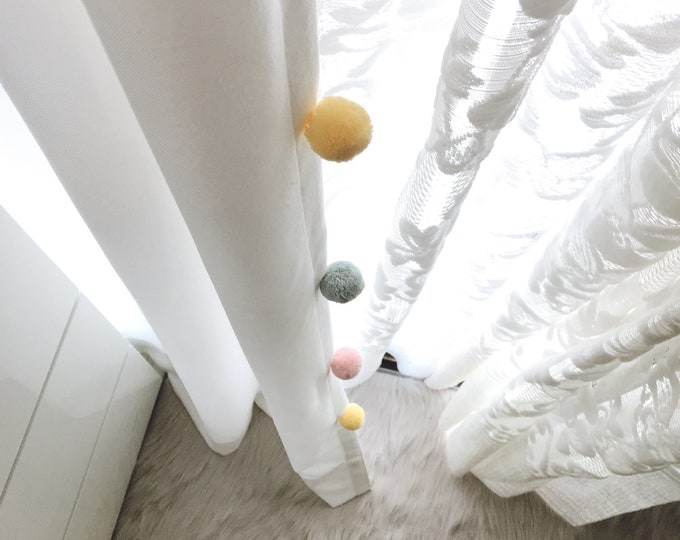 Multi Colored Pom Poms Edging Trimmed White Curtain