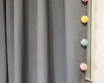 """Grey Curtain with Adorable Multi Coloured Pom Poms. Curtain Drapery Panel. Kids Curtains. Baby Rooms, 64"""" 84"""" 90"""" 96"""" Long by 55"""" Wide."""