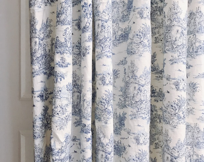 """Blue Vintage Farm Scenery on Ivory Washed Linen Curtain Panel. Window Curtain. 64"""" 84"""" 90"""" 96"""" Long by 53"""" Wide. Window Treatments"""