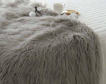 Grey Mongolian Faux Fur Throw Blanket