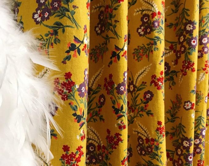 Vintage Wildflower Pattern Mustard Linen Curtain
