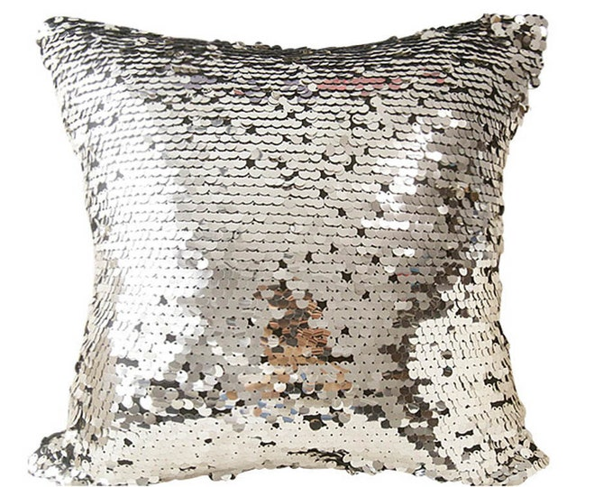 "Silver Sequins Pillow Spangles Beads Cushion Case Square Accent Throw Cushion Cover 18"" X 18"""