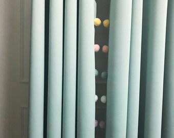 Multi Colored Pom Poms Trimmed Mint Blackout Curtain
