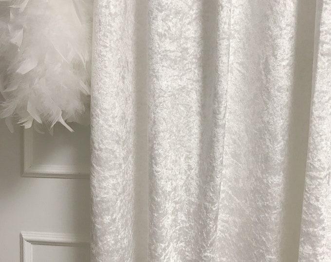Glam White Velvet Curtain Drapery Panel