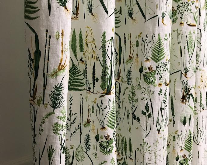 Green Plants on White Linen Cotton Curtain