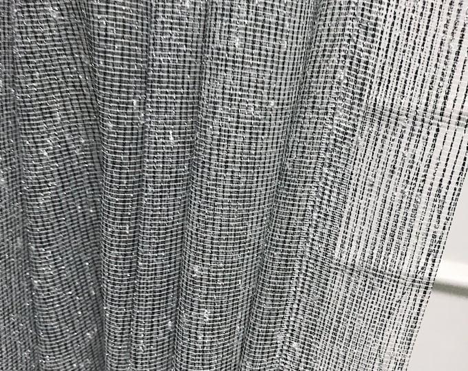 Silver Metallic Accents Weave Black Mesh Sheer Curtain