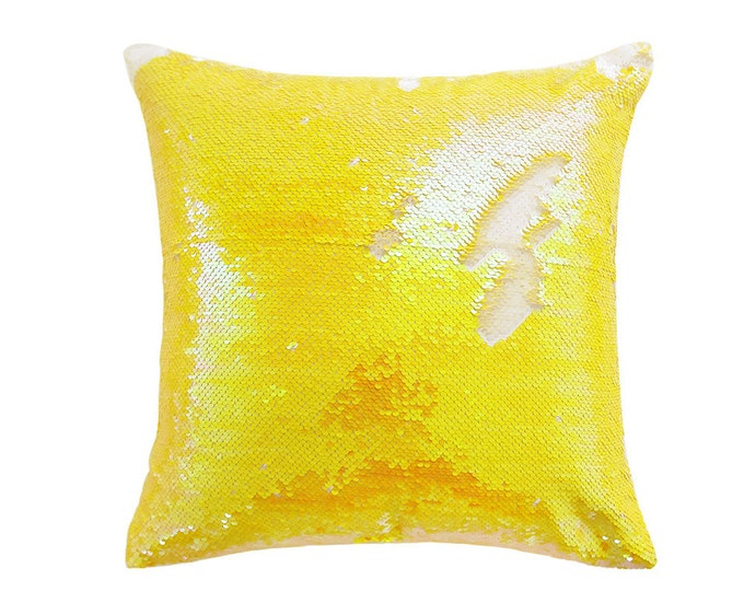 "Yellow Holographic Glittery Sequins Square Cushion Cover 18"" X 18"""