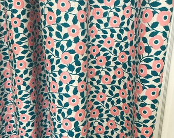 """My Garden Flowers Pink and Cyan Colour Curtain Panel. 64"""" 84"""" 90"""" 96"""" Long by 39"""" Wide. Window Treatments. Nursery Curtains"""