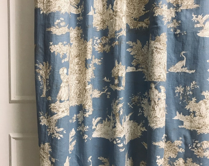 Blue Vintage Country Cottage Pattern Washed Linen Curtain