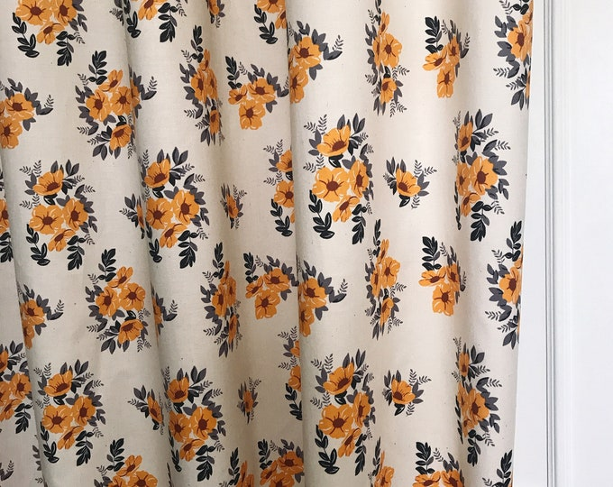 """Orange Floral Patterned Ivory Curtain Panel. 64"""" 84"""" 90"""" 96"""" Long by 39"""" Wide. Window Treatments."""
