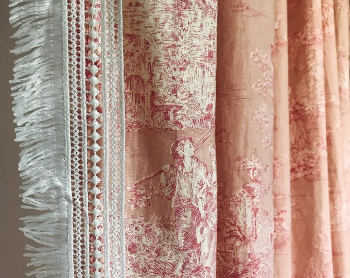 Crochet Tassel Edging Pink Vintage Country Cottage Pattern Washed Linen Curtain