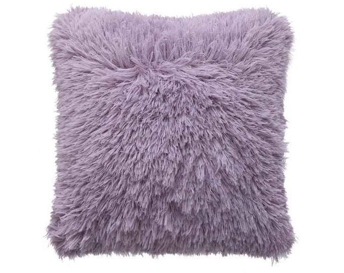 Lavender Fluffy Soft Decorative Square Cushion Cover 18 inches