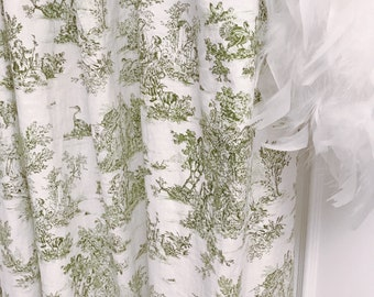 """Olive Vintage Farm Scenery on Ivory Washed Linen Curtain Panel. Window Curtain. 64"""" 84"""" 90"""" 96"""" Long by 53"""" Wide. Window Treatments"""