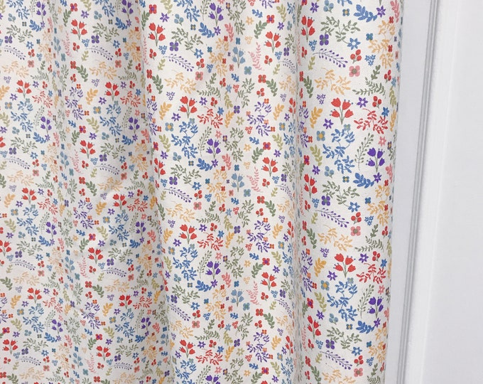 """Tiny Flowers and Leaves Spring Garden Curtain Panel. 64"""" 84"""" 90"""" 96"""" Long by 39"""" Wide. Window Treatments. Nursery Curtains"""