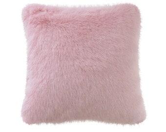 """Pink Faux Fur Accent Decorative Square Cushion 18"""""""