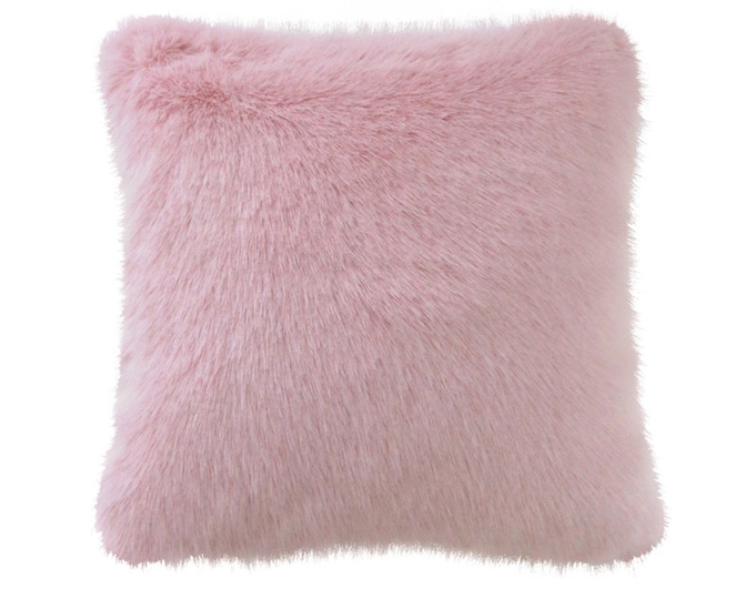 Pink Faux Fur Accent Decorative Square Cushion 18 inches