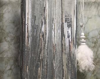 Glamorous Silver Metallic Plaids Curtain Decorative Drapery Panels 1 Pair