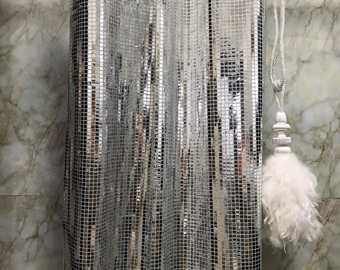 Sample Sale] Glamorous Silver Metallic Plaids Curtain Decorative Drapery Panels 1 Panel