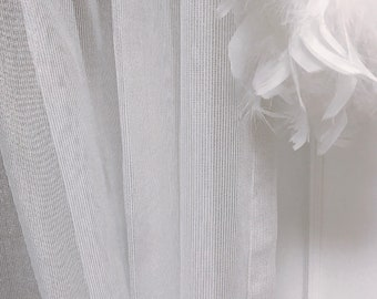 Silver Metallic Accents White Mesh Weave Sheer Curtain