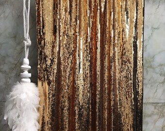 Gold Sequins Drops Embellished Metallic Drapery Lined Curtain