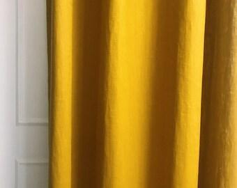 Mustard Colored Linen Curtain