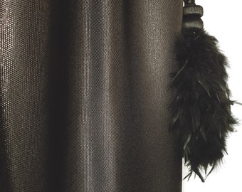 Gold Sparkle Black Textured Weave Curtain Drapery Panel