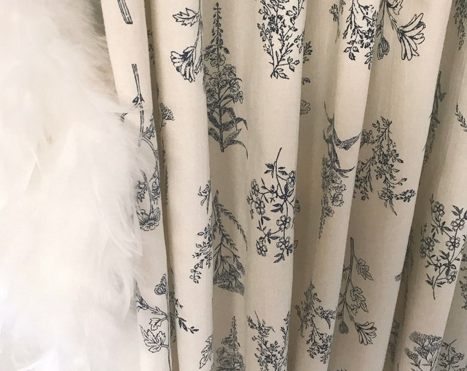 """Ivory Washed Linen Botanical Curtain Panel. Floral Curtains. 64"""" 84"""" 90"""" 96"""" Long by 51"""" Wide. Window Treatments"""