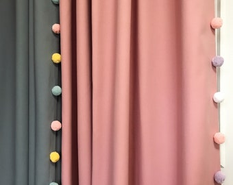 """Pink Curtain with Adorable Multi Coloured Pom Poms. Curtain Drapery Panel. Kids Curtains. Baby Rooms, 64"""" 84"""" 90"""" 96"""" Long by 55"""" Wide."""