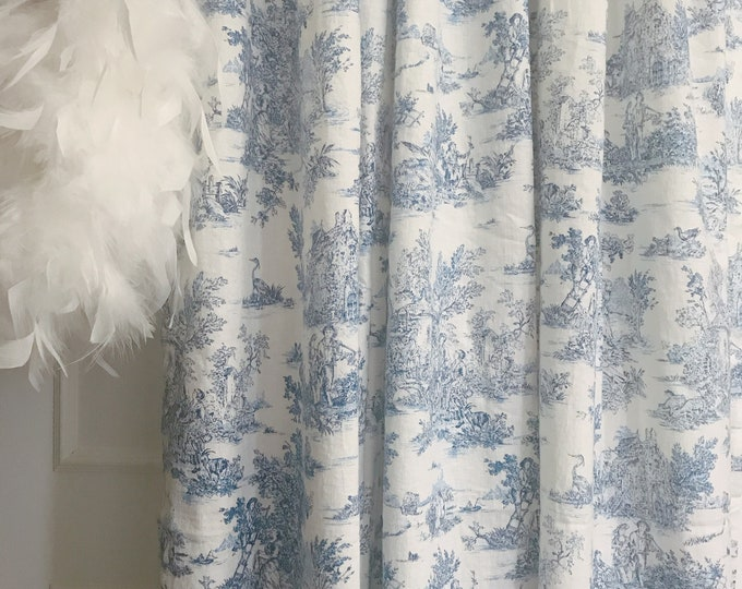 Blue Vintage Farm Scenery on Ivory Washed Linen Curtain