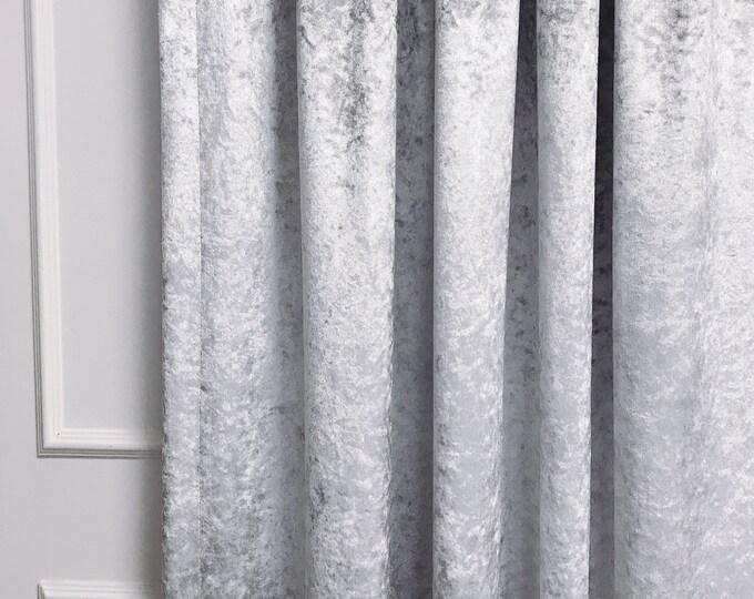 Glam Silver Velvet Curtain