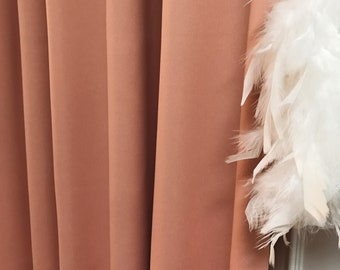 """Pale Peach Solid Blackout Curtain. Nursery Curtain Drapes. Various colours. 64"""" 84"""" 90"""" 96"""" Long by 53"""" Wide. Curtains with ties"""