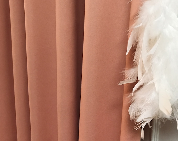 "Pale Peach Solid Blackout Curtain. Nursery Curtain Drapes. Various colours. 64"" 84"" 90"" 96"" Long by 53"" Wide. Curtains with ties"