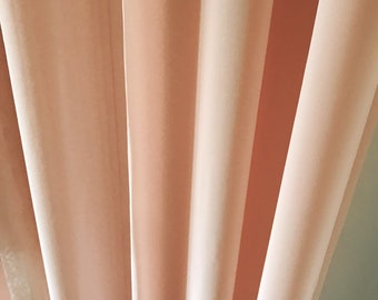 """Pale Coral Pink Dark Shade Sheer Curtain. Plain Drapery Panel. 64"""" 84"""" 90"""" 96"""" Long by 53"""" Wide. Curtains with Ties. Window Treatments"""