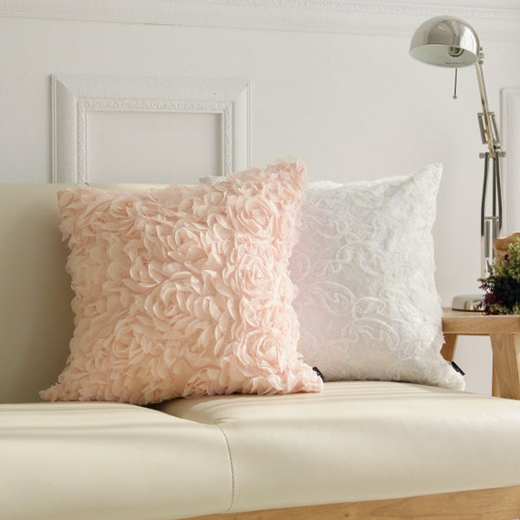 """Pale Peach Rose Patterned Square Throw Cushion 18"""" X 18"""""""