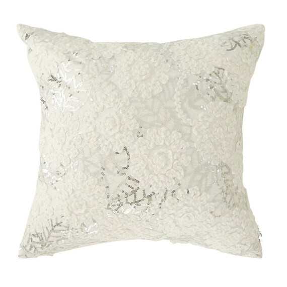 """White Floral Embellished Square Cushion Cover with Silver Sequins 18"""" X 18"""""""