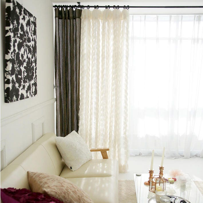Ivory Sheer Curtains With Fringes Accents Drapery Panel Gallery Photo