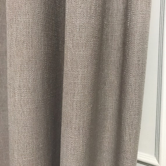 "Light Beige Grey Slubbed Curtain Panel. Linen Curtain. 55"" Long by 49"" Wide. Thick Curtain Fabric. Window Treatments"