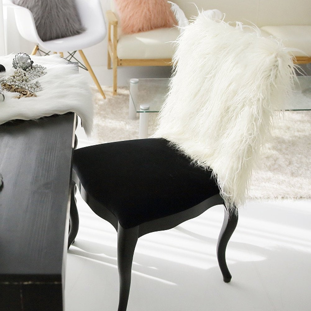 Ivory Faux Fur Chair Slipcover Chair Cover 40cm X 50cm