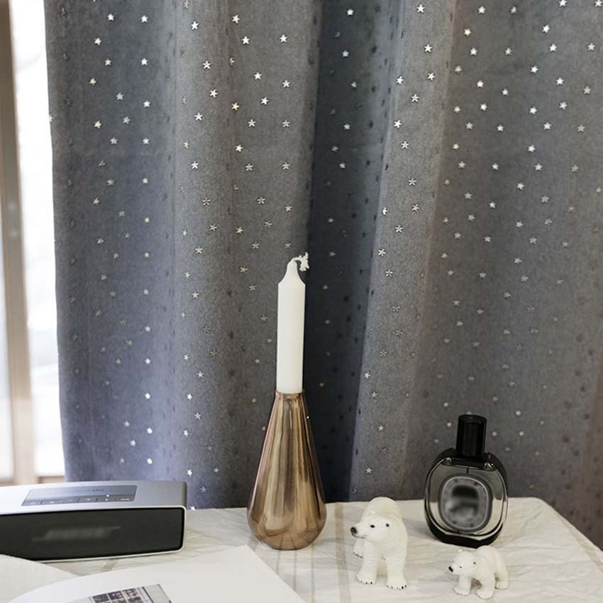 Sparkling Silver Star Grey Blackout Curtain Drapery Panel