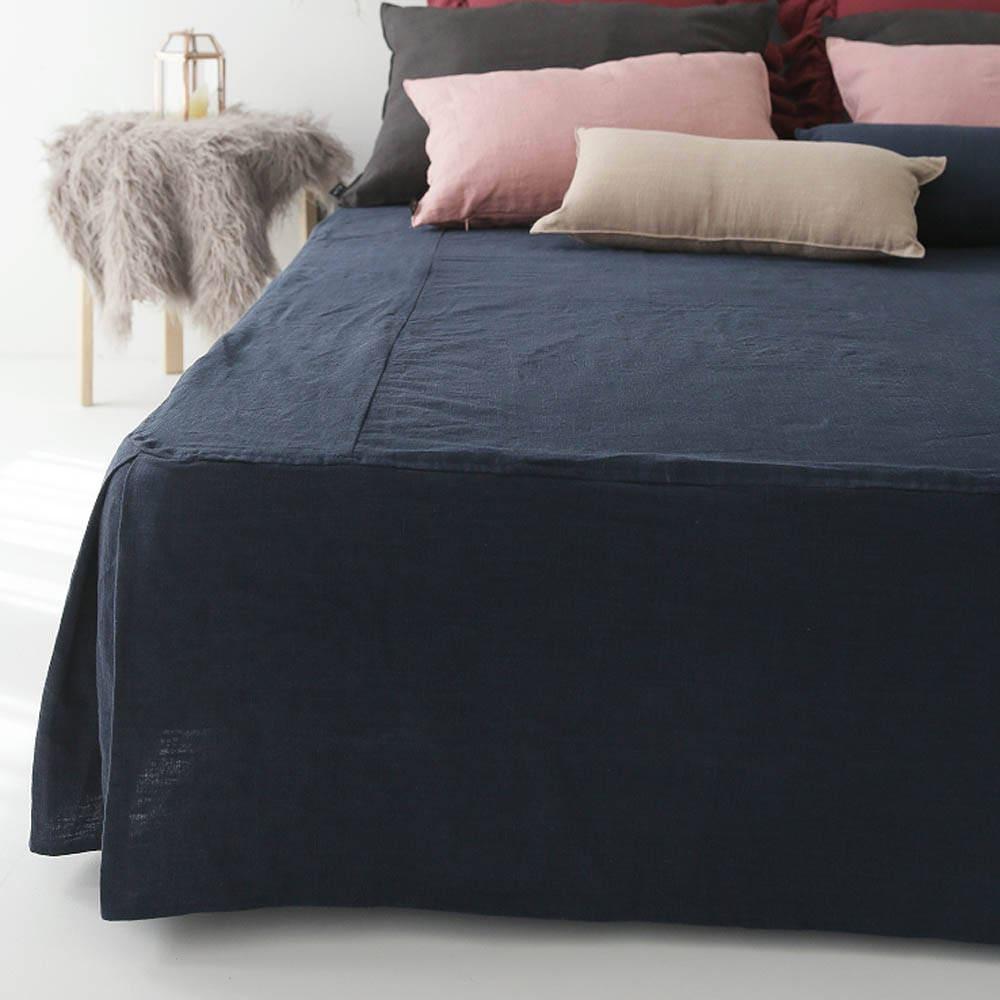 Navy Bedskirt Tailored Linen Bedskirt Box Pleated Natural Linen Bed