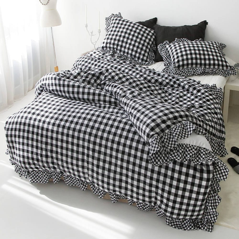 Gingham Frilled Duvet Cover Cotton Bedding Ruffle Bedding Twin