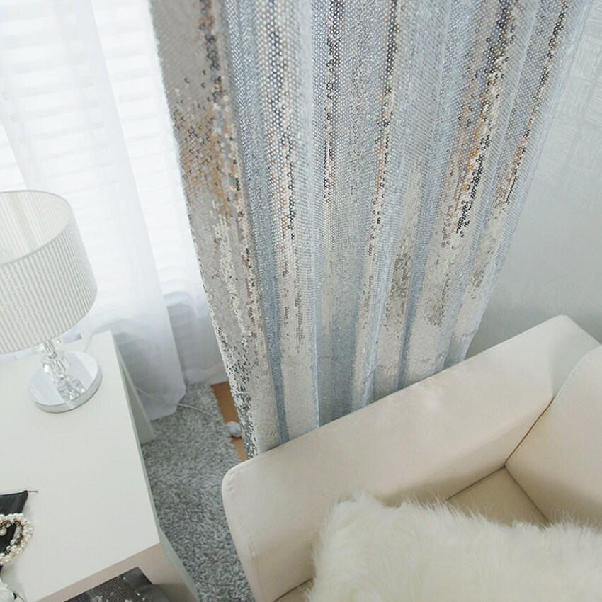 Silver Sequins Sparkly Curtain Drapery Panel