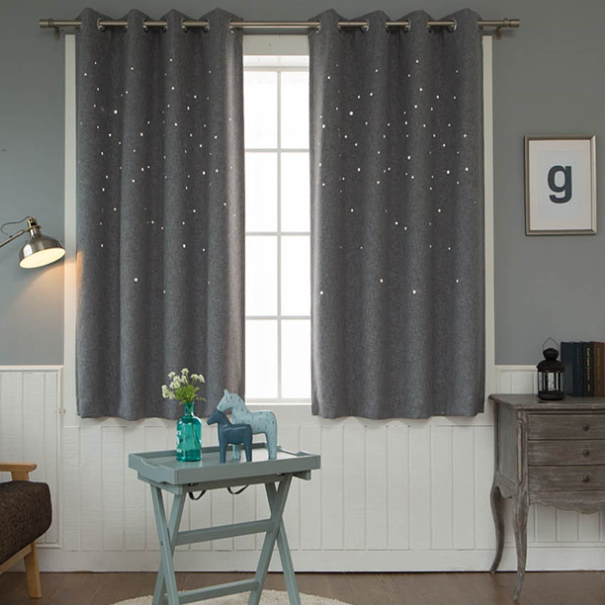 Grey Star Pattern Cutting Out Tweed Semi Blackout Curtains