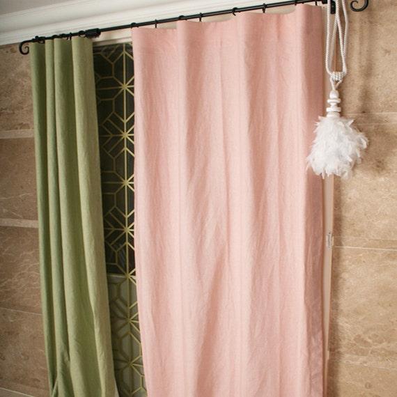 Coton lin rose p le m lang panneau de rideau rideaux for Rideau occultant rose pale