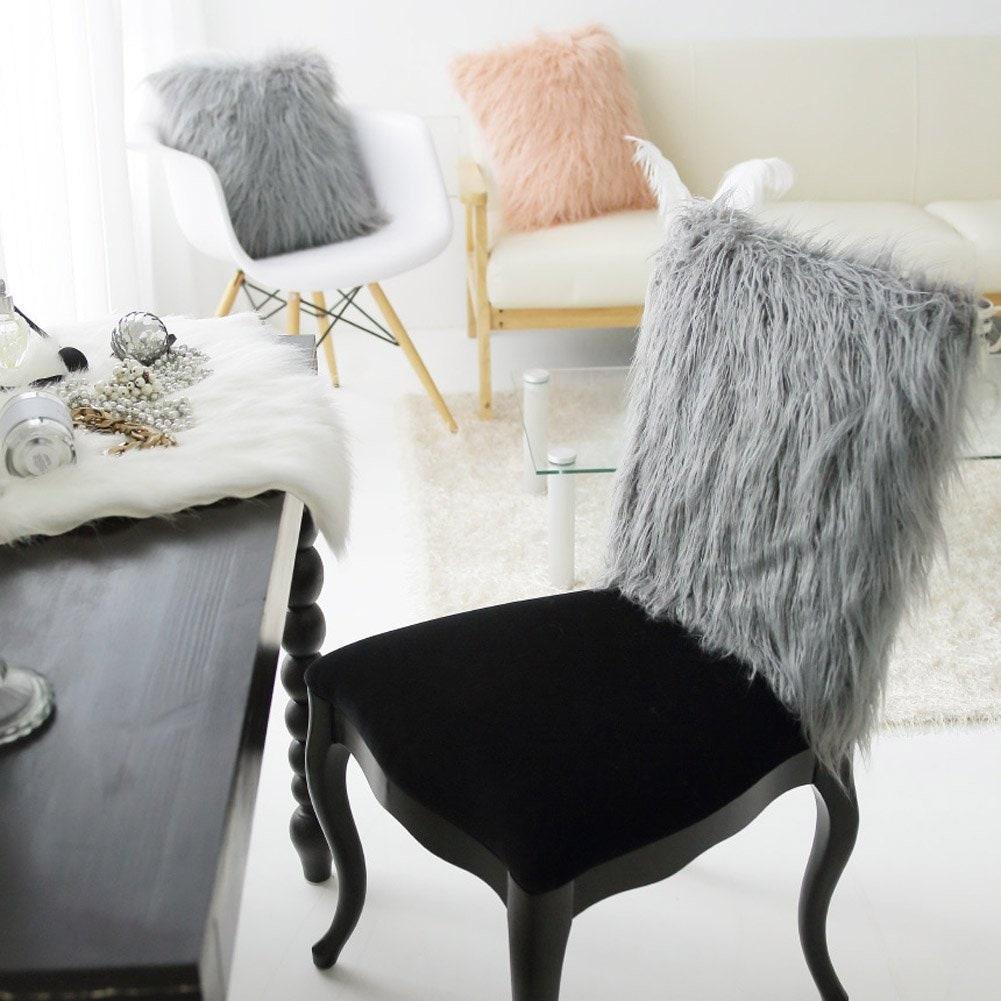 Grey Faux Fur Chair Slipcover Chair Cover 40cm X 50cm