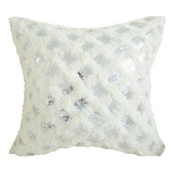 """Metallic Silver with Ivory Fringes Square Cushion Cover 18"""" X 18"""""""